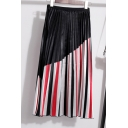 New Trendy Summer High Waist Striped Print Colorblock Mini Pleated A-Line Holiday Skirt
