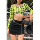 Fashion Striped Print Off Shoulder Long Sleeve Twist-Front Crop Top Tee
