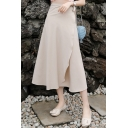 Summer Hot Stylish Plain High Waist Chiffon A-Line Midi Wrap Skirt for Women