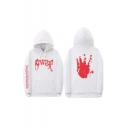 Letter REVENGE Blood Hand Printed Back Long Sleeve Sports Hoodie