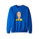 Popular Comic OK Bald Figure Printed Round Neck Long Sleeve Pullover Sweatshirt