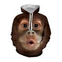 3D Funny Gorilla Face Printed Long Sleeve Khaki Drawstring Hoodie