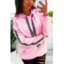 New Fashion Letter Tape Long Sleeve Casual Loose Pullover Hoodie