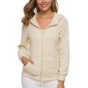 Womens Simple Plain Long Sleeve Zip Up Hooded Fluffy Fleece Coat