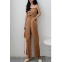 Womens Brown Vintage Strapless Sleeveless Elastic Waist Button Front Casual Sweet Jumpsuits