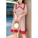 New Arrival Womens Red Cherry Printed Short Sleeve Lapel Collar Pleated Hem Midi Straight Dress