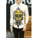 Guys Cool Skull Pattern Long Sleeve White Fitted Button Up Shirt