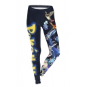 Hot Popular Elastic Black Letter Cartoon Printed Skinny Fitted Legging Pants