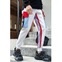 Men's New Stylish Colorblock Stripe Side Buckle Strap Flap Pocket Trendy Casual Cargo Pants