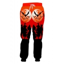 Popular Fashion Creative Halloween Witch Bat 3D Printed Drawstring Waist Red Casual Loose Jogging Sweatpants