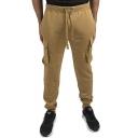 Men's New Fashion Simple Plain Knee Pleated Flap Pockets Drawstring Waist Casual Cargo Sweatpants