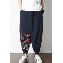 Chinese Style New Fashion Floral Embroidery Drawstring Waist Casual Loose Linen Carrot Pants