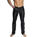 Men's Fashion Simple Plain Belt Rivet Embellished Black Sexy Leather Pants
