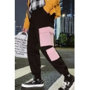 Guys New Fashion Colorblock Flap Pocket Patched Casual Loose Cargo Pants