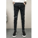 Men's New Fashion Letter Printed Patched Black Slim Fit Trendy Jeans