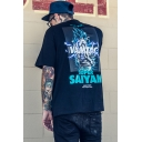 SUPER Comic Character Printed Hip Hop Style Loose Fitted T-Shirt