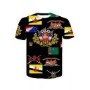 New Stylish Mens Short Sleeve Round Neck Multi Printed leisure Personalized T-Shirt