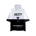 Kpop Boy Band New Album SPINNING Loose Fit Black and White Hooded T-Shirt