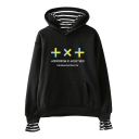 Unique Letter TXT Printed Stripe Inside Fake Two-Piece Casual Hoodie
