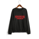 Lady Long Sleeve Round Neck Stranger Things Letter Printed Straight Loose Sweatshirt