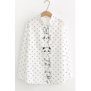 White Long Sleeve Stand Collar Polka Dot Cat Embroidered Loose Shirt