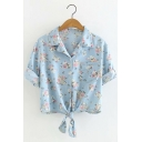 Womens Rolled Sleeve Lapel Collar Button Down Floral Printed Pocket Front Knotted Hem Denim Shirt