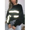 Black Bat Sleeve Round Neck FLASH ON Letter Reflective Light Stripe Printed Casual Loose Sweatshirt