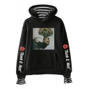 Thank U Next Letter Figure Printed Long Sleeve Fake Two Piece Hoodie with Pocket
