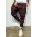Men's Hot Fashion Plaid Printed Casual Cotton Harem Pants Sporty Pants