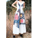 White Chic V Neck Sleeveless Tribal Printed Wide Leg Casual Loose Beach Jumpsuits