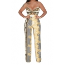 Stylish Straps Sleeveless Tie Back Check Printed Wide Leg Jumpsuits