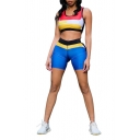 Hot Popular Sleeveless Tank T Shirt with Elastic Waist Shorts Skinny Sport Co-ords