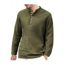 Hot Popular Mens Solid Color Long Sleeve Stand Collar Button Front Casual Loose Cotton Linen Shirt