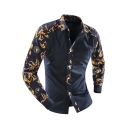 Navy Long Sleeve Lapel Collar Single Breasted Gold Floral Print Slim Fit Cotton Shirt