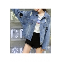 Funny Letter HELLO BITCH Embroidery Ripped Blue Button Down Denim Jacket Coat