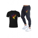 Mens Summer Unique Clover Logo Printed Short Sleeve T-Shirt with Sport Sweatpants Two-Piece Set