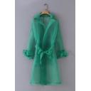 Womens Summer Unique Plain Green Lapel Collar Tied Waist Transparent Organza Longline Trench Coat