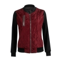 Womens Hot Stylish Color Block Stand Collar Long Sleeve Zip Up Fitted Padded Jacket