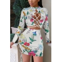 Women's Fancy White Floral Printed Long Sleeve Cutout Crop Tee with Mini Bodycon Skirt Two-Piece Set
