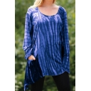 Womens Ombre Color Tie Dye Round Neck Long Sleeve Asymmetrical T-Shirt