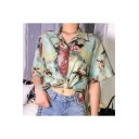 Womens Hot Popular Summer Vintage Green Cute Angel Baby Printed Short Sleeve Casual Button Shirt