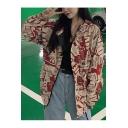 Womens Vintage Newspaper Printed Long Sleeve Oversized Zip Up Hooded Coat Jacket