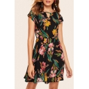 Womens Hot Popular Floral Leaf Printed Cap Sleeve Mini A-Line Dress