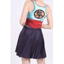 Trendy Digital Printed Round Neck Sleeveless Mini Pleated Tank Dress