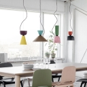 Multi-Colored Cone/Dome Hanging Lamp Nordic Metal Shade Drop Light for Dining Room