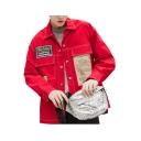 Mens New Stylish SUPERHEY Letter Print Lapel Collar Long Sleeve Button Down Pocket Detail Shirt Jacket