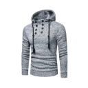 Men's New Fashion Simple Plain Button Embellished Slim Fit Hooded Drawstring Hoodie