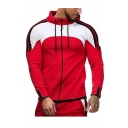 Men's Hot Fashion Colorblock Stripe Pattern Slim Fit Sports Zip Up Drawstring Hoodie