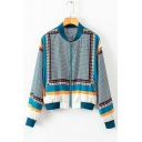 Fashion Blue Tribal Geometric Printed Stand Collar Long Sleeve Zip Up Fitted Jacket