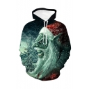 Christmas Popular Fashion Santa Claus 3D Printed Green Long Sleeve Casual Loose Pullover Hoodie